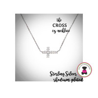 CROSS   Cz / STERLING NECKLACE - Bridal / Special Event Jewelry with Group Pricing - Free Ship /Bride/Bridesmaid/Wedding Party Gift
