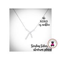 XOXO   Cz / STERLING NECKLACE - Bridal / Special Event Jewelry with Group Pricing - Free Ship /Bride/Bridesmaid/Wedding Party Gift