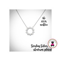 AVA   Cz / STERLING NECKLACE - Bridal / Special Event Jewelry with Group Pricing - Free Ship /Bride/Bridesmaid/Wedding Party Gift