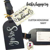 BRIDESMAID PROPOSAL GIFT-GROUP DISCOUNT-Custom Personalized Leather Luggage Tag - NAVY - Group Pricing- FREE SHIP /Bride Gift/Bridesmaid Proposal Gift/Gift for Her/Team Group Gift