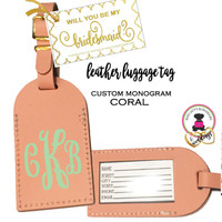 BRIDESMAID PROPOSAL GIFT-GROUP DISCOUNT-Custom Personalized Leather Luggage Tag - CORAL -Group Pricing-FREE SHIP /Bride Gift/Bridesmaid Proposal Gift/Gift for Her/Team Group Gift
