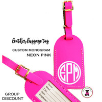Custom Personalized Leather Luggage Tag - NEON PINK -FREE SHIP/Travel Gift /Bride Gift/Bridesmaid Gift/Gift for Her/Gift for Him