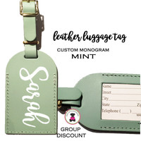Custom Personalized Leather Luggage Tag - MINT -FREE SHIP/Travel Gift /Bride Gift/Bridesmaid Gift/Gift for Her/Gift for Him