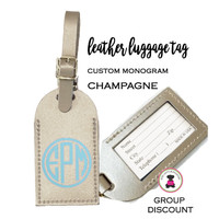 Custom Personalized Leather Luggage Tag - CHAMPAGNE PEARL -FREE SHIP/Travel Gift /Bride Gift/Bridesmaid Gift/Gift for Her/Gift for Him
