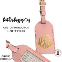 Custom Personalized Leather Luggage Tag - LIGHT PINK -FREE SHIP/Travel Gift /Bride Gift/Bridesmaid Gift/Gift for Her/Gift for Him