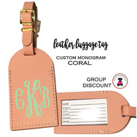 Custom Personalized Leather Luggage Tag - CORAL-FREE SHIP/Travel Gift /Bride Gift/Bridesmaid Gift/Gift for Her/Gift for Him