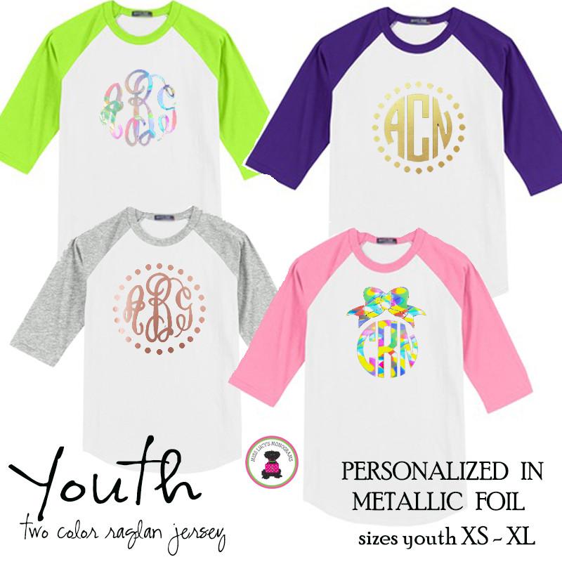 6acb4468 YOUTH Metallic Foil Monogrammed Two Tone Raglan Sleeve T Shirt - XL Monogram  -FREE SHIP/Flower Girl Gift/Youth T Shirt/ Team T Shirt/Wedding / Gift for  ...