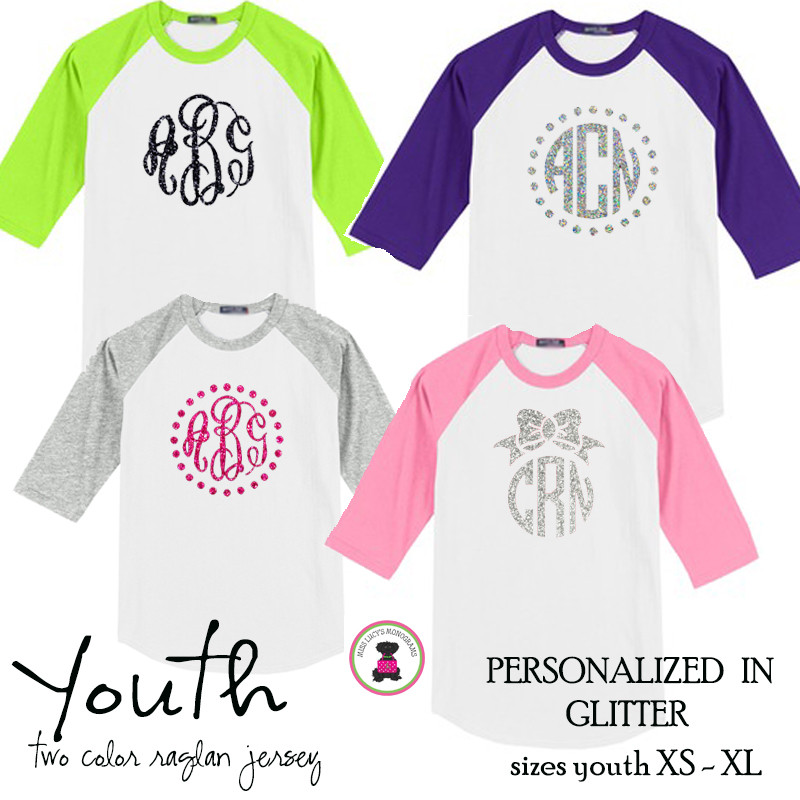 YOUTH Glitter Monogrammed Two Tone Raglan Sleeve T Shirt
