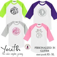 YOUTH  Glitter  Monogrammed Two Tone Raglan Sleeve T Shirt - XL Monogram -FREE SHIP/Flower Girl Gift/Youth T Shirt/ Team T Shirt/Wedding / Gift for Young Girl