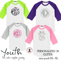 YOUTH  Glitter  Monogrammed Two Tone Raglan Sleeve T Shirt - XL Monogram -FREE SHIP/Flower Girl Gift/Youth T Shirt/ Team T Shirt/Wedding / Gift for Young Girl