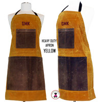 FOR HIM Monogrammed Waxed Canvas Heavy Duty Apron -Yellow -FREE SHIP /Workshop Apron/Groomsmen Gift /Father's Day Gift/Gardener Gift/ DIY Gift