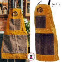FOR HER Monogrammed Waxed Canvas Heavy Duty Apron -Yellow -FREE SHIP /Workshop Apron/Groomsmen Gift /Father's Day Gift/Gardener Gift/ DIY Gift