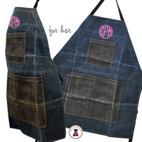 FOR HER Monogrammed Waxed Canvas Heavy Duty Apron -Slate -FREE SHIP /Workshop Apron/Groomsmen Gift /Father's Day Gift/Gardener Gift/ DIY Gift