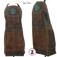 FOR HER Monogrammed Waxed Canvas Heavy Duty Apron -Olive -FREE SHIP /Workshop Apron/Groomsmen Gift /Father's Day Gift/Gardener Gift/ DIY Gift