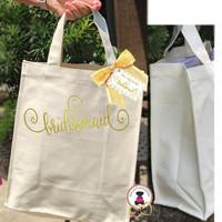BRIDESMAID PROPOSAL GIFT/GROUP DISCOUNT-Monogrammed Natural Canvas Glam Tote -Design BRIDESMAID - FREE SHIP/Bridesmaid Gift/Gift for Her/Bridesmaid Proposal Gift/Bride Gift