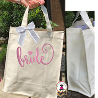 BRIDAL  GIFT-Monogrammed Natural Canvas Glam Tote -Design BRIDE - FREE SHIP/Gift for Her/Bridal Shower Gift/Bride Gift Bag