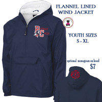PAULDING COUNTY YOUTH CHEER -Monogrammed Flannel Lined, YOUTH SIZES  Navy Pullover Wind Jacket - FREE SHIP