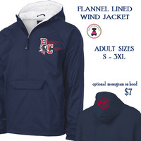 PAULDING COUNTY YOUTH CHEER -Monogrammed Flannel Lined, ADULT SIZE Navy Pullover Wind Jacket - FREE SHIP