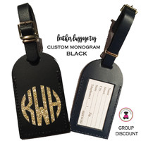 Custom GLITTER Personalized Leather Luggage Tag - BLACK -FREE SHIP/Travel Gift /Bride Gift/Bridesmaid Gift/Gift for Her/Gift for Him