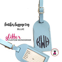Custom GLITTER Personalized Leather Luggage Tag - BLUE -FREE SHIP/Travel Gift /Bride Gift/Bridesmaid Gift/Gift for Her/Gift for Him