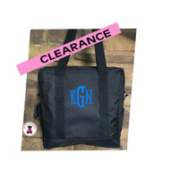LAST CALL!  Monogrammed Day/Business TOTE - Black- FREE SHIP