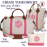 CREATE YOUR SET! Your Choice Monogrammed Canvas / Leather Travel Items-FREE SHIP