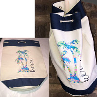 "LAST CALL! Personalized ""KERRI""  LILLY INSPIRED PALM TREE & NAME Drawstring Canvas Tote Bag- Navy / Natural - FREE SHIP"