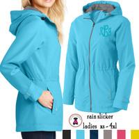 Monogrammed Ladies' Rain Slicker WATERPROOF Jacket -Sizes XS - 4XL -  FREE SHIP