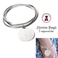 Engraved Monogrammed German Silver Triple Bangle & Disc - FREE SHIP