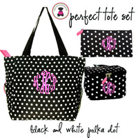 Monogrammed Perfect Tote Travel Set - 3 Piece - Black / White Polka Dot-FREE SHIP/ladies' Travel Set/Gift for Her/Bridesmaid Gift/Flower Girl Gift/Dancer Gift/Grad Gift