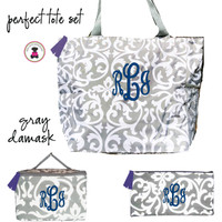 Monogrammed Perfect Tote Travel Set - 3 Piece - Gray / White Damask  - FREE SHIP