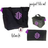 Monogrammed Perfect Tote Travel Set - 3 Piece - Black  - FREE SHIP