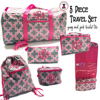 Monogrammed 5 Piece Travel Set - Gray & Pink Bristol Tile - FREE SHIP/ Duffel Travel Set/Gift for Her/Flower Girl  Gift/Grad Gift/Tween Gift