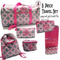 Monogrammed 5 Piece Travel Set - Gray & Pink Bristol Tile - FREE SHIP/ Duffel Travel Set/Gift for Her/Flower Girl  Gift/Grad Gift/Tween Gift