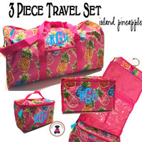 Monogrammed 3 Piece Travel Set -ISLAND PINEAPPLE -FREE SHIP/ Duffel Travel Set/Gift for Her/Flower Girl  Gift/Grad Gift/Tween Gift