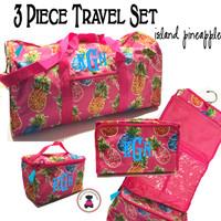 Monogrammed 3 Piece Travel Set -ISLAND PINEAPPLE -FREE SHIP/ Duffel Travel Set/Gift for Her/Flower Girl  Gift/Grad Gift/Tween Gift