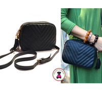 Faux Leather Quilted Messenger  - Black -  FREE SHIP