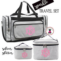 Monogrammed GLITTER 3 Piece Travel Set-Silver Glitter-Free Ship/Glitter TravelGlitter Duffel/Overnight Travel Set/Dancer Duffel