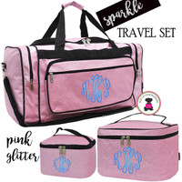 Monogrammed GLITTER 3 Piece Travel Set-Pink Glitter-Free Ship/Glitter TravelGlitter Duffel/Overnight Travel Set/Dancer Duffel