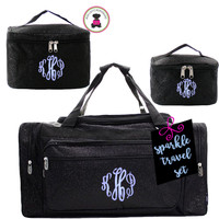 Monogrammed GLITTER 3 Piece Travel Set-Black Glitter-Free Ship/Glitter TravelGlitter Duffel/Overnight Travel Set/Dancer Duffel