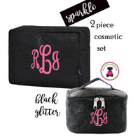 Monogrammed GLITTER Travel Cosmetic Set -2 Piece- Black Glitter - FREE SHIP / Glitter Travel/Glitter Cosmetic /Travel Gift Set/Dancer Bags