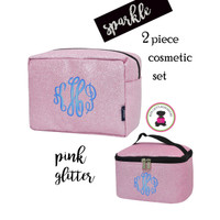 Monogrammed GLITTER Travel Cosmetic Set -2 Piece- Pink Glitter - FREE SHIP / Glitter Travel/Glitter Cosmetic /Travel Gift Set/Dancer Bags