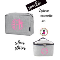 Monogrammed GLITTER Travel Cosmetic Set -2 Piece- Silver Glitter - FREE SHIP / Glitter Travel/Glitter Cosmetic /Travel Gift Set/Dancer Bags