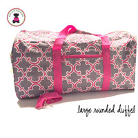Monogrammed Large Canvas Rounded Duffle -Gray & Hot PInk Bristol Tile - FREE SHIP
