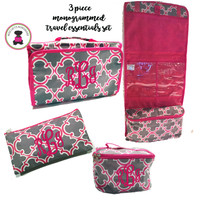 Monogrammed 3 Piece Travel Essentials Set-Bristol Tile - Gray & Hot PInk -FREE SHIPPING