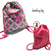 Monogrammed Drawstring Backpack Travel Bag - Bristol Tile - Gray/Hot Pink  - FREE SHIP