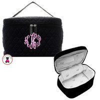 Large Cosmetic Quilted Train Case-Monogrammed- Black - FREE SHIP