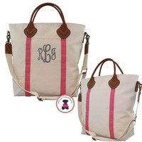 Monogrammed Deluxe Canvas / Leather Flight Travel Tote -FREE SHIP