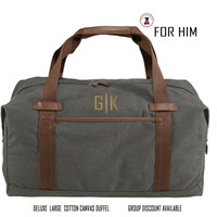 FOR HIM Monogrammed DELUXE LARGE COTTON CANVAS DUFFEL-DARK GRAY - FREE SHIP-Men Travel/Mens Duffel/Groomsmen Gift/Father's Day Gift/Grad Gift
