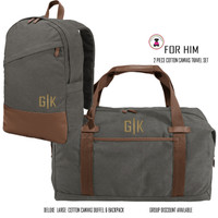 FOR HIM Monogrammed DELUXE LARGE COTTON CANVAS 2 Piece TRAVEL SET-Duffel & Backpack--DARK GRAY - FREE SHIP-Men Travel/Mens Duffel/Groomsmen Gift/Father's Day Gift/Grad Gift /Boy Travel